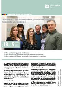 erste Seite vom Faltblatt Good Practice – IBAS Sachsen, Rückblicke und Einblicke