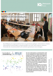 erste Seite vom Faltblatt Good Practice – IMPULS-Veranstaltung