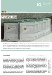 erste Seite vom Faltblatt Good Practice – MEIN ORDNER