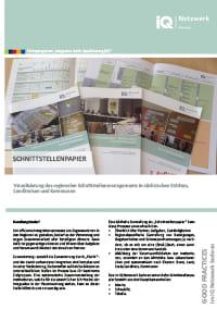 erste Seite vom Faltblatt Good Practice – Schnittstellenpapier