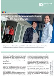 erste Seite vom Faltblatt Good Practice – Brücke für ausländische Akademikerinnen und Akademiker in Chemnitz