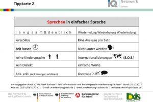 Tippkarte 2 – Sprechen in einfacher Sprache